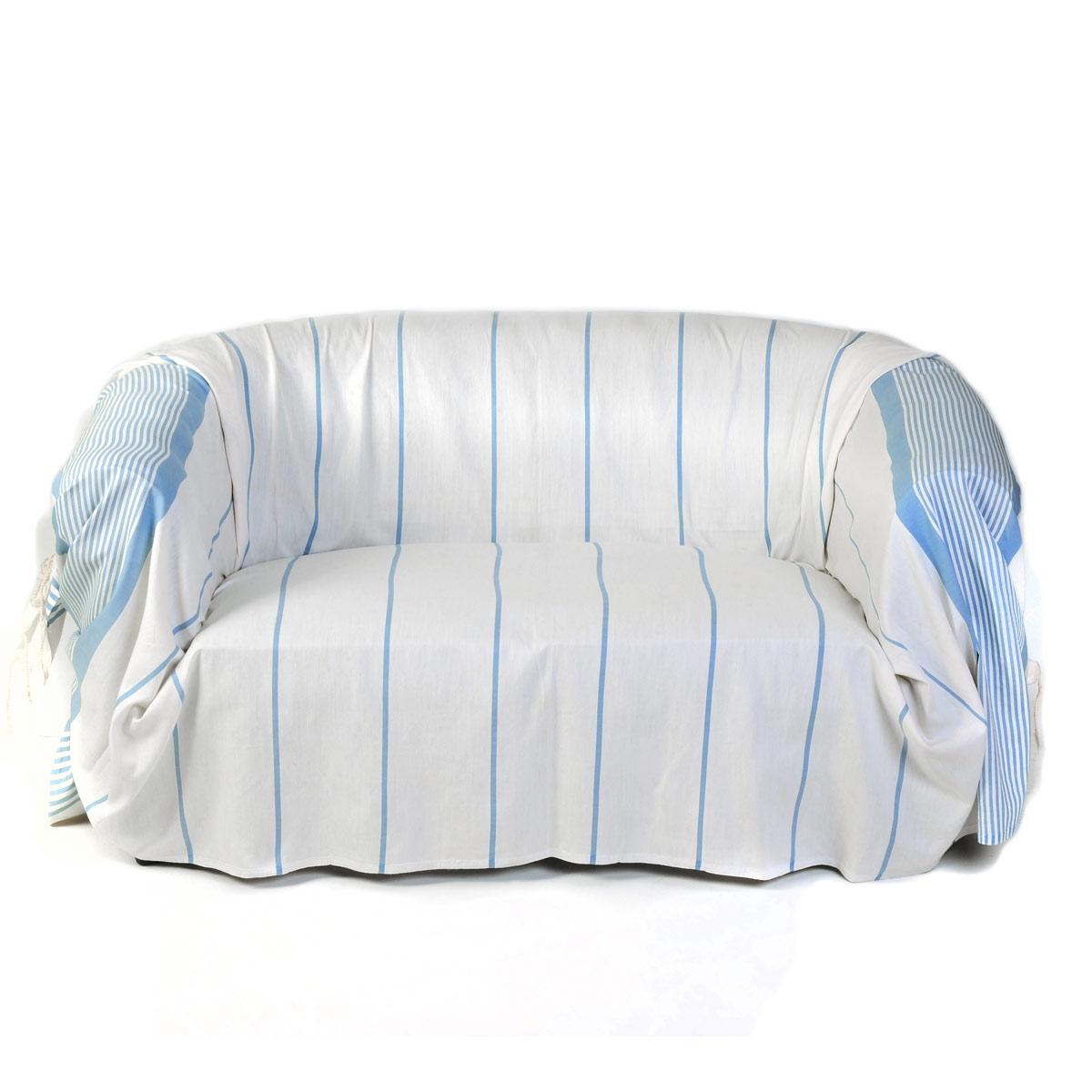 CARTHAGE - Jeté de canapé 100% coton blanc rayures bleu 200 x 300