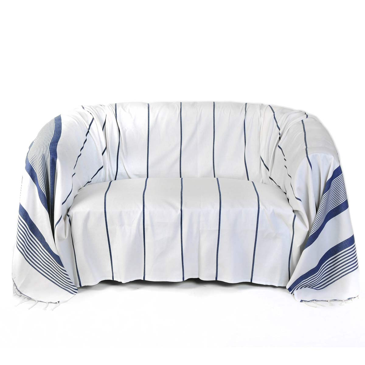 CASABLANCA - Jeté de canapé coton fond blanc rayures bleu 200 x 300