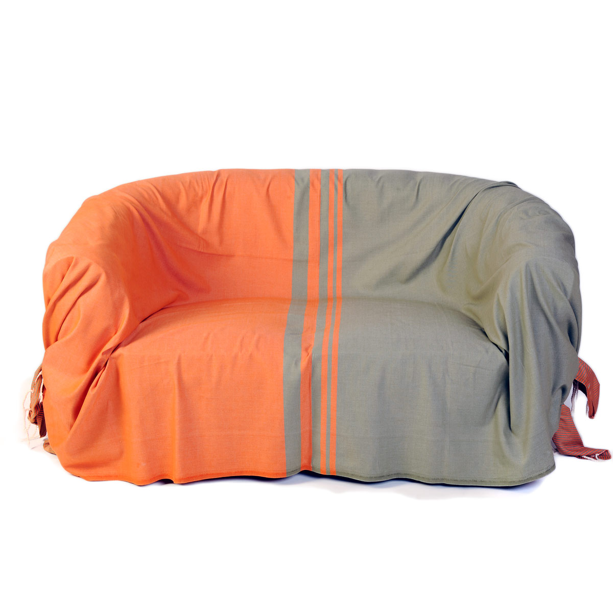 TANGER - Jeté de canapé coton rayures orange vert amande 200 x 300