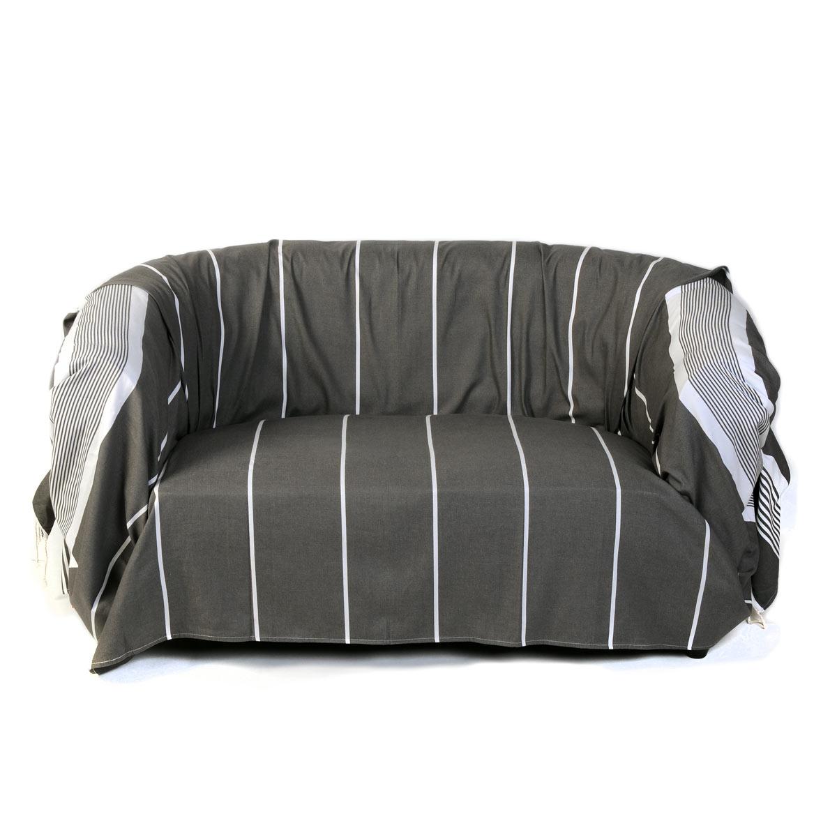 CARTHAGE - Jeté de canapé coton anthracite rayures blanches 200 x 300