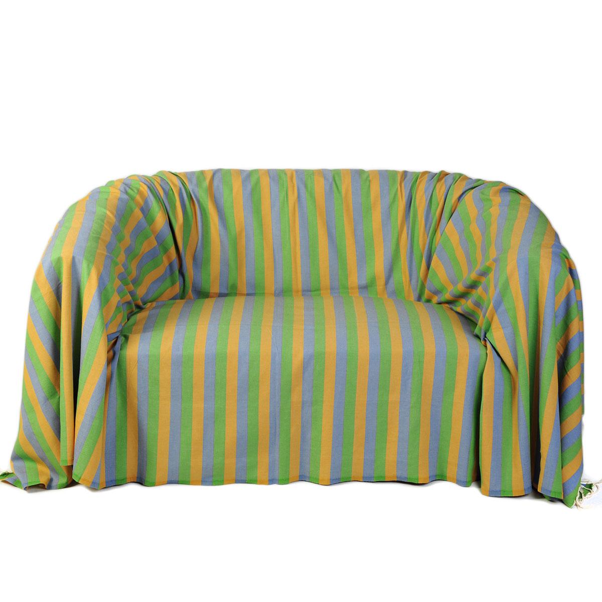 DJERBA - Jeté de canapé coton tricolore vert jaune turquoise 200 x 300