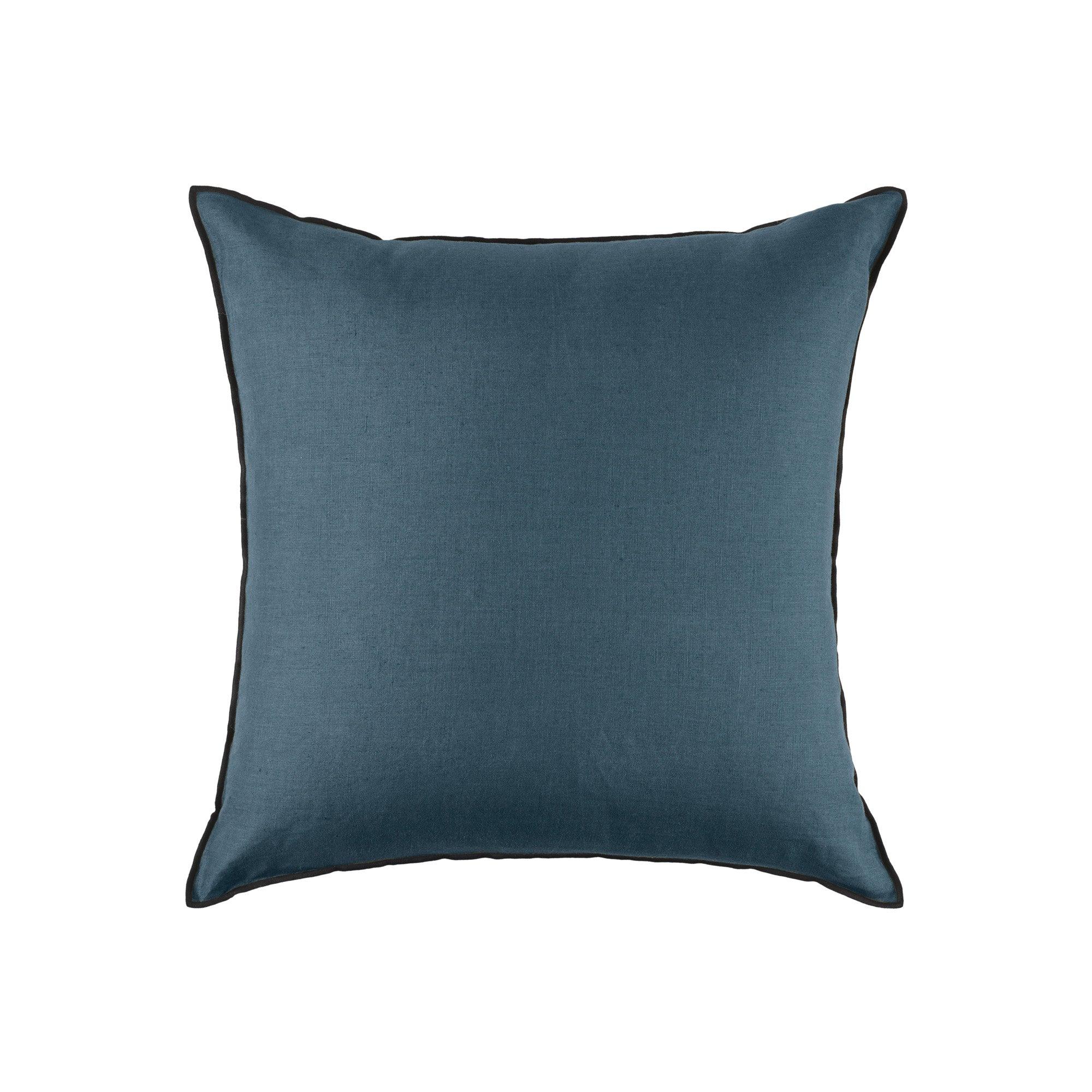 Housse de coussin 50x50 cm Bleu vert et bourdon noir en Lin CARLINA