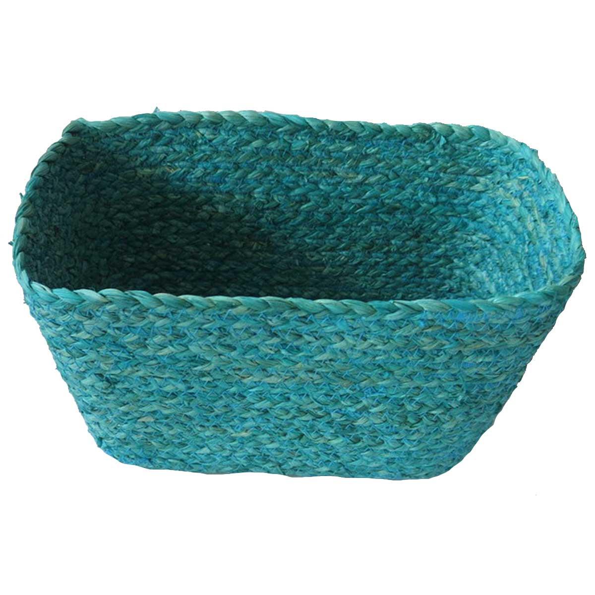 Panier rectangulaire en fibre de mais turquoise