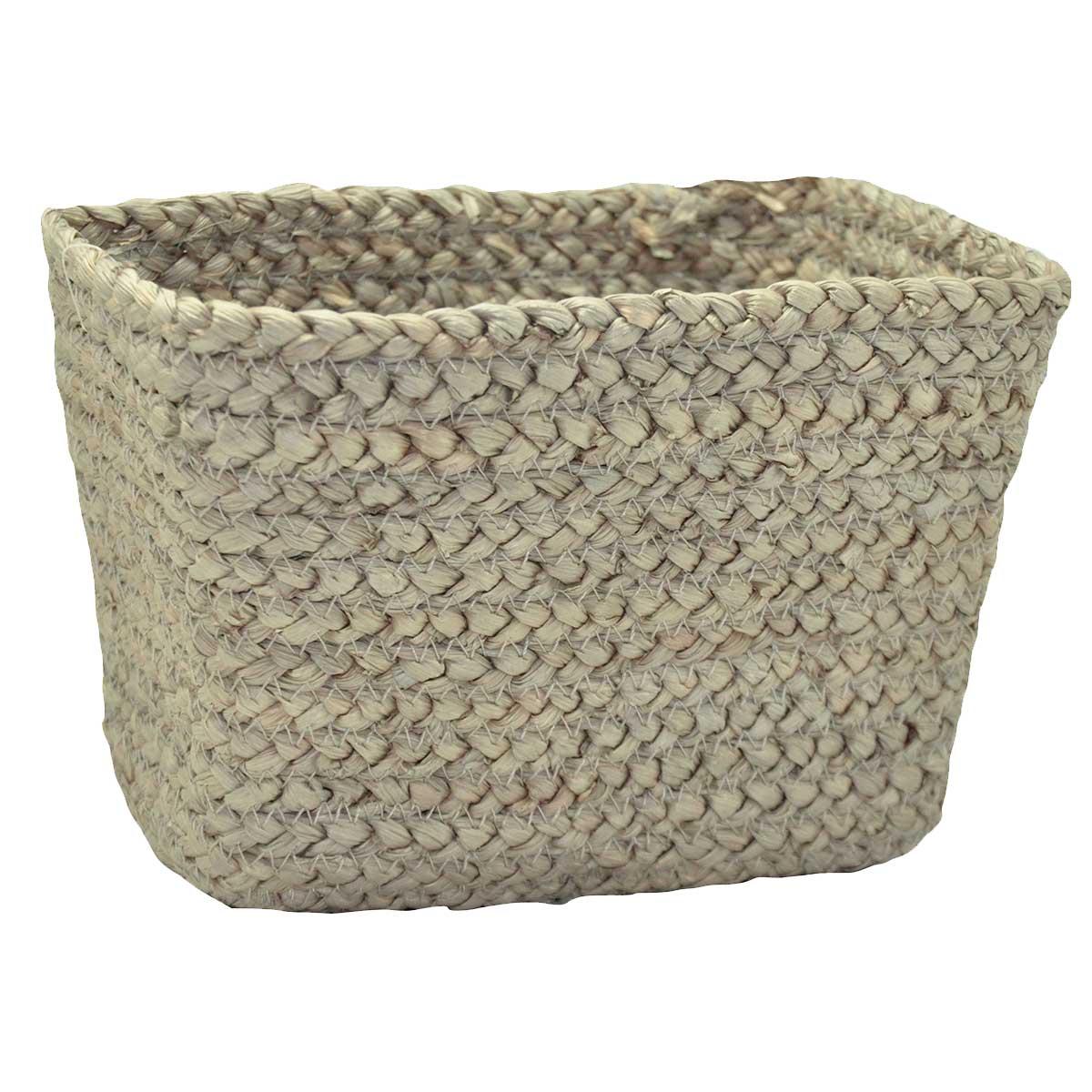 Panier rectangulaire en fibre de mais taupe