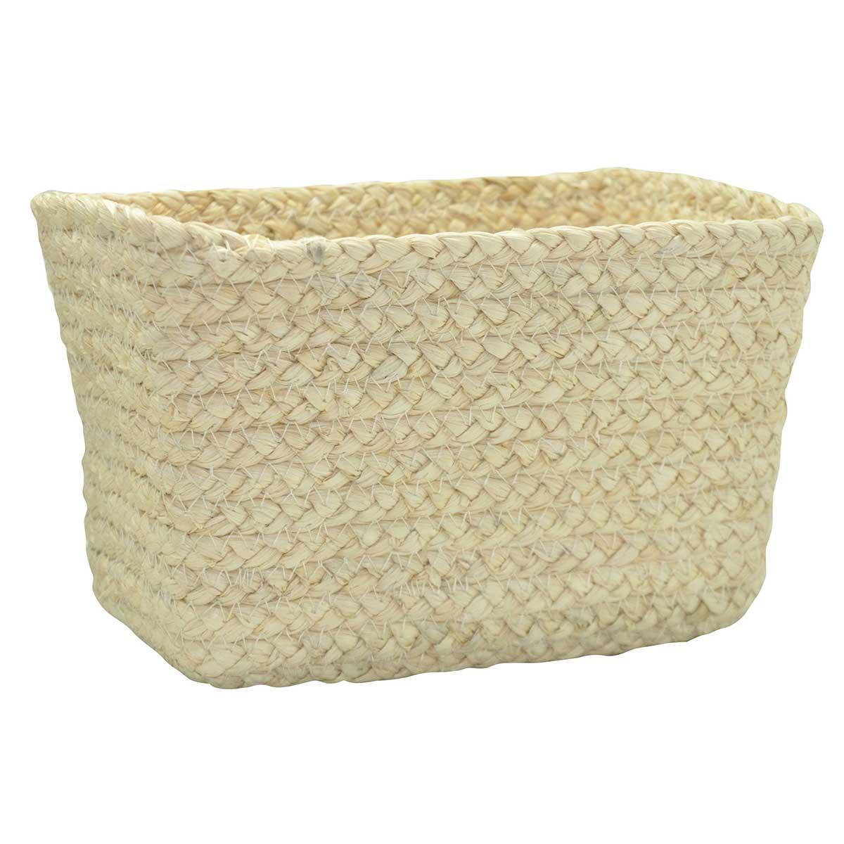 Panier rectangulaire en fibre de mais beige