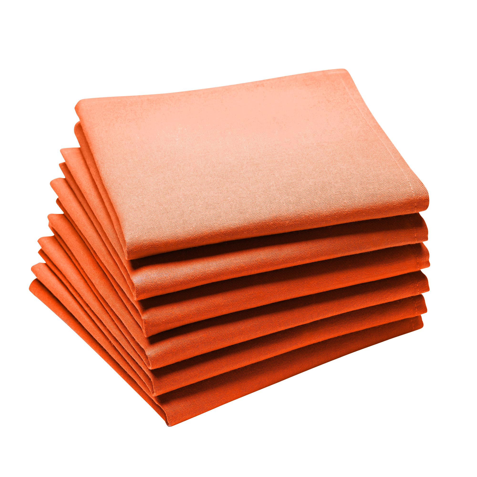 Lot de 6 serviettes en coton traite Teflon, Mandarine 45 x 45