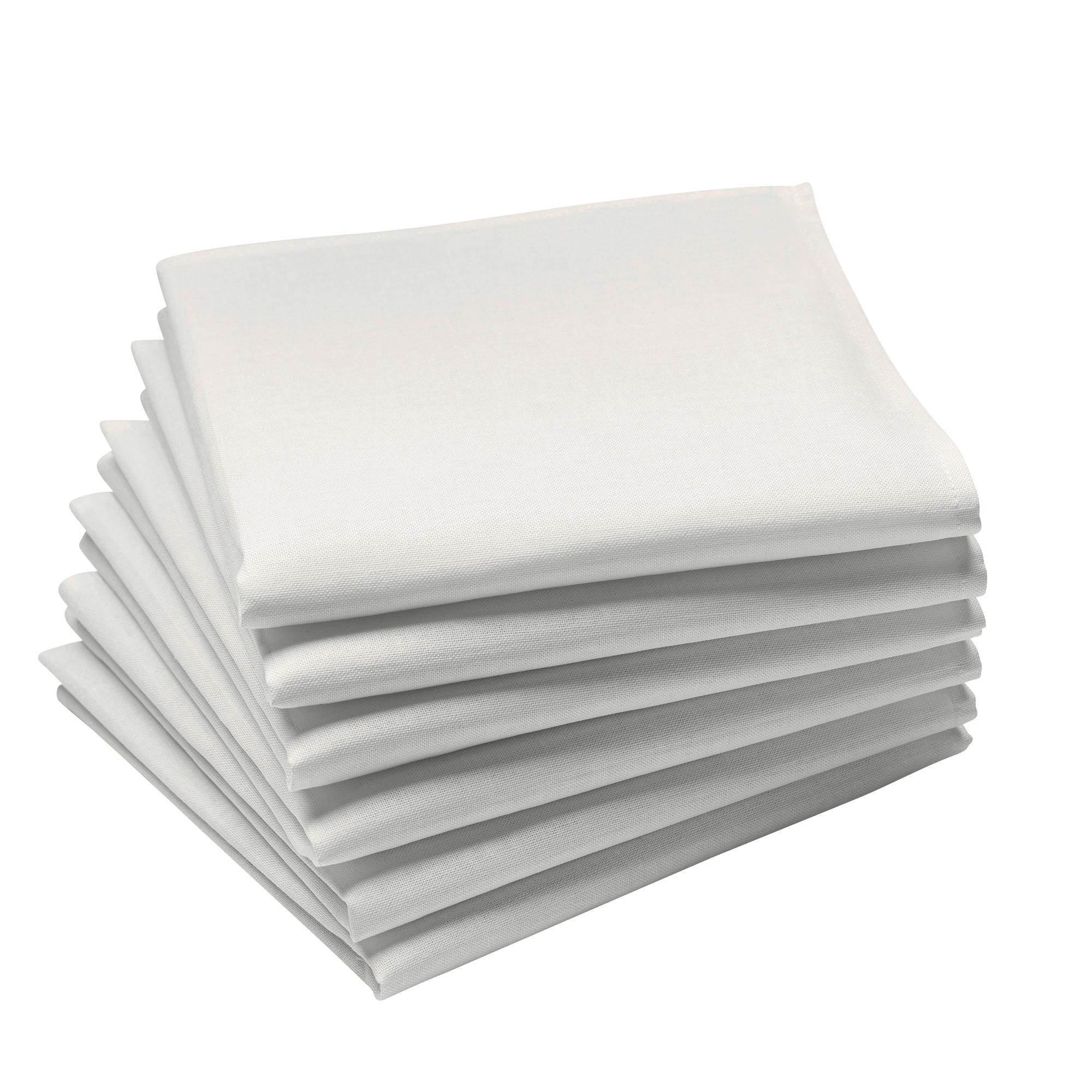 Lot de 6 serviettes en coton traite Teflon, Blanc 45 x 45