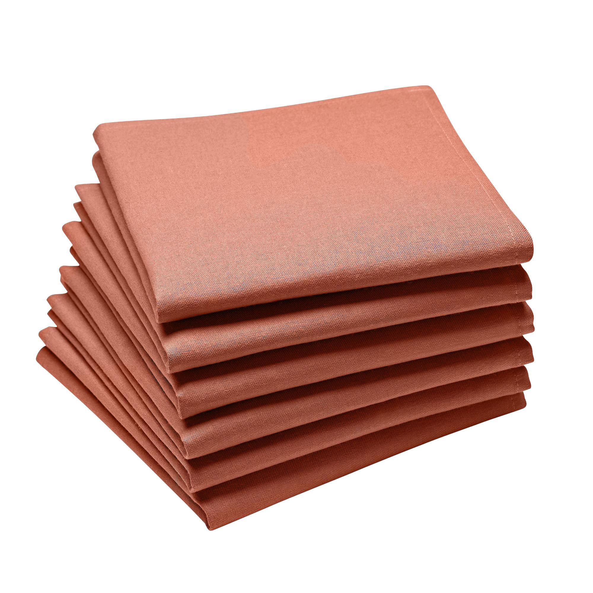 Lot de 6 serviettes en coton traite Teflon, Paprika 45 x 45
