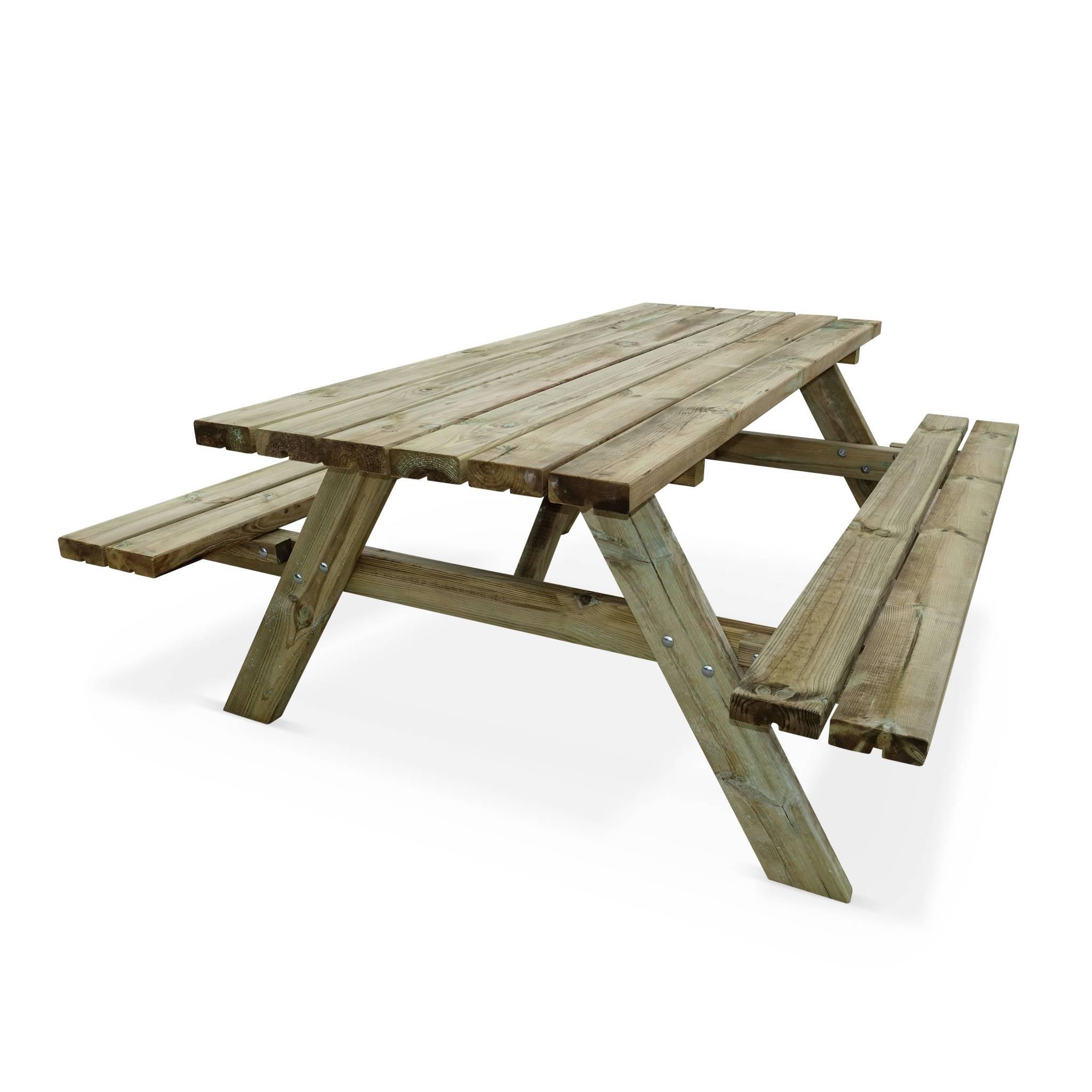 Table de pique nique rectangulaire avec bancs rabattables 6 places