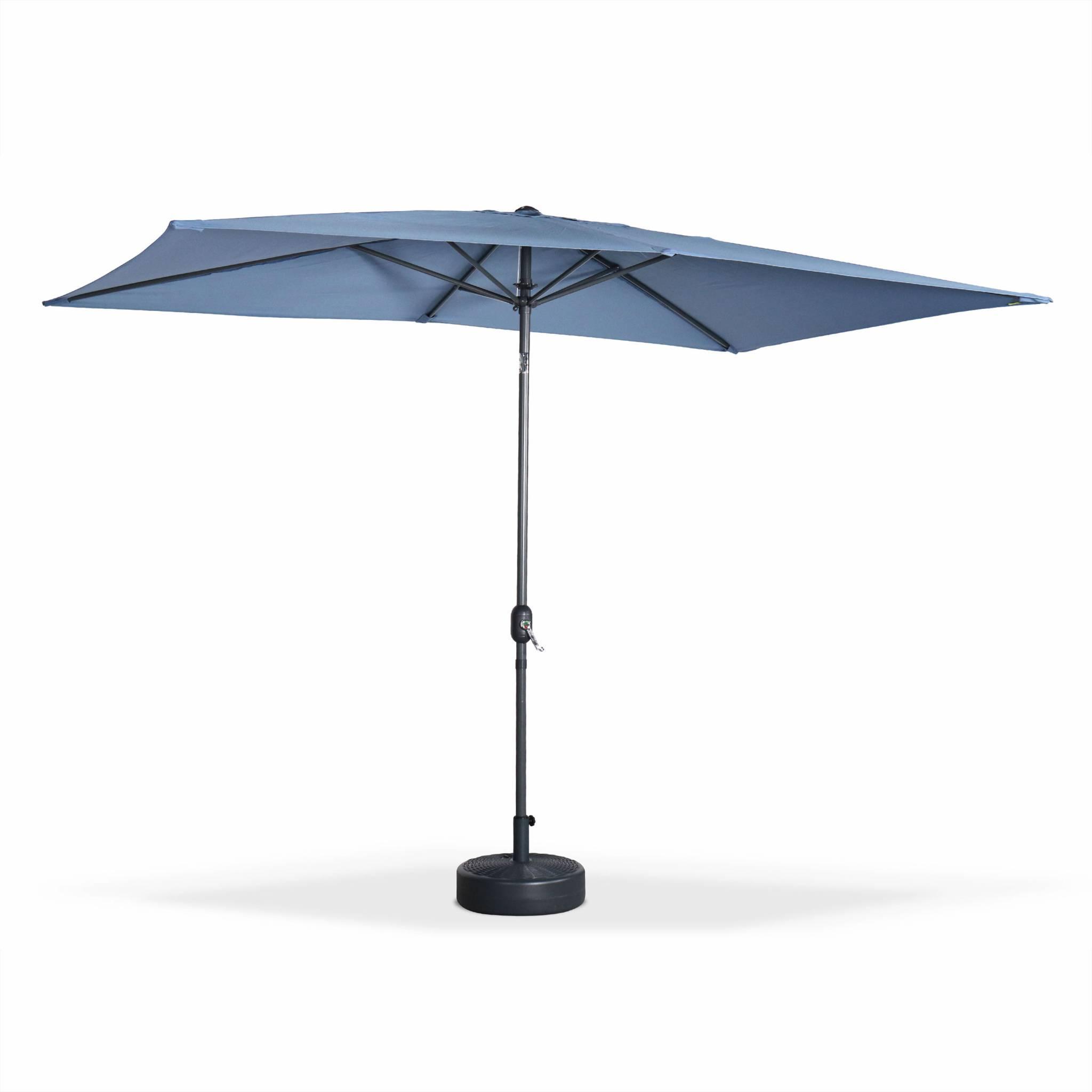 Parasol droit 2x3m rectangulaire en aluminium bleu grisé