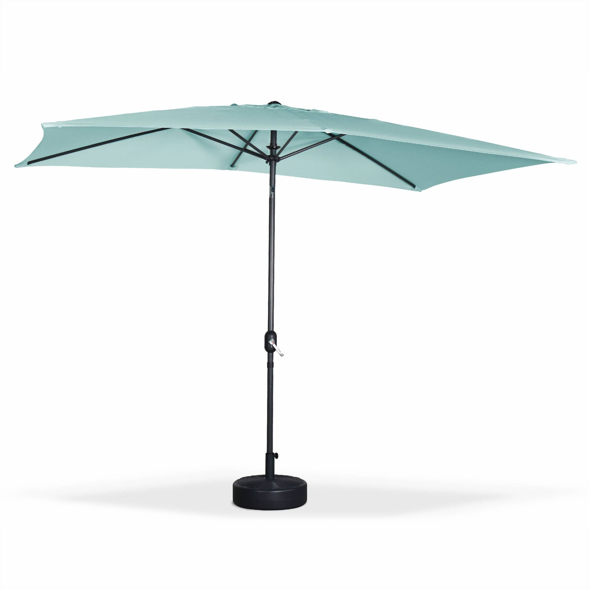 Parasol droit 2x3m rectangulaire en aluminium vert d'eau