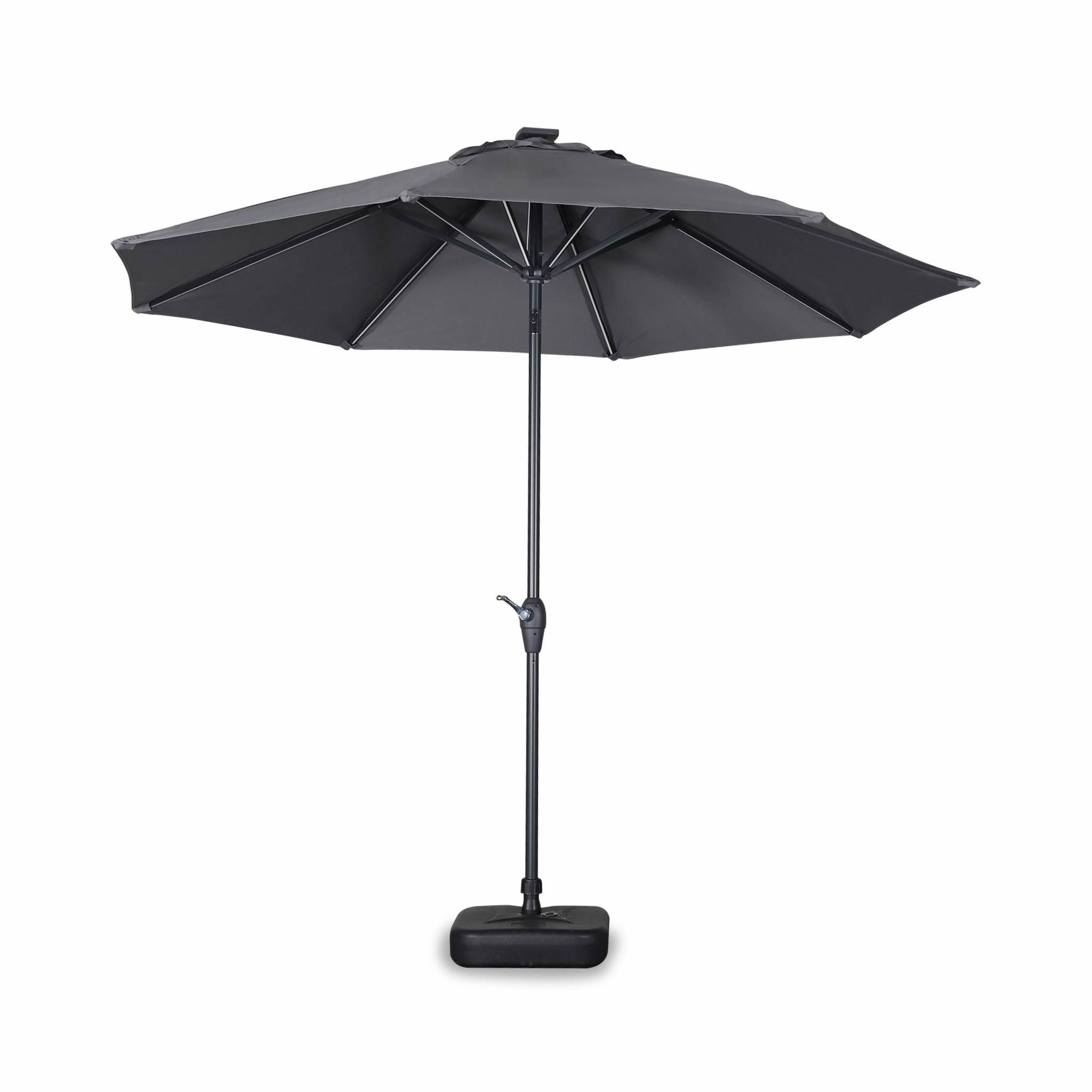 Parasol LED droit rond en aluminium gris D2,7m