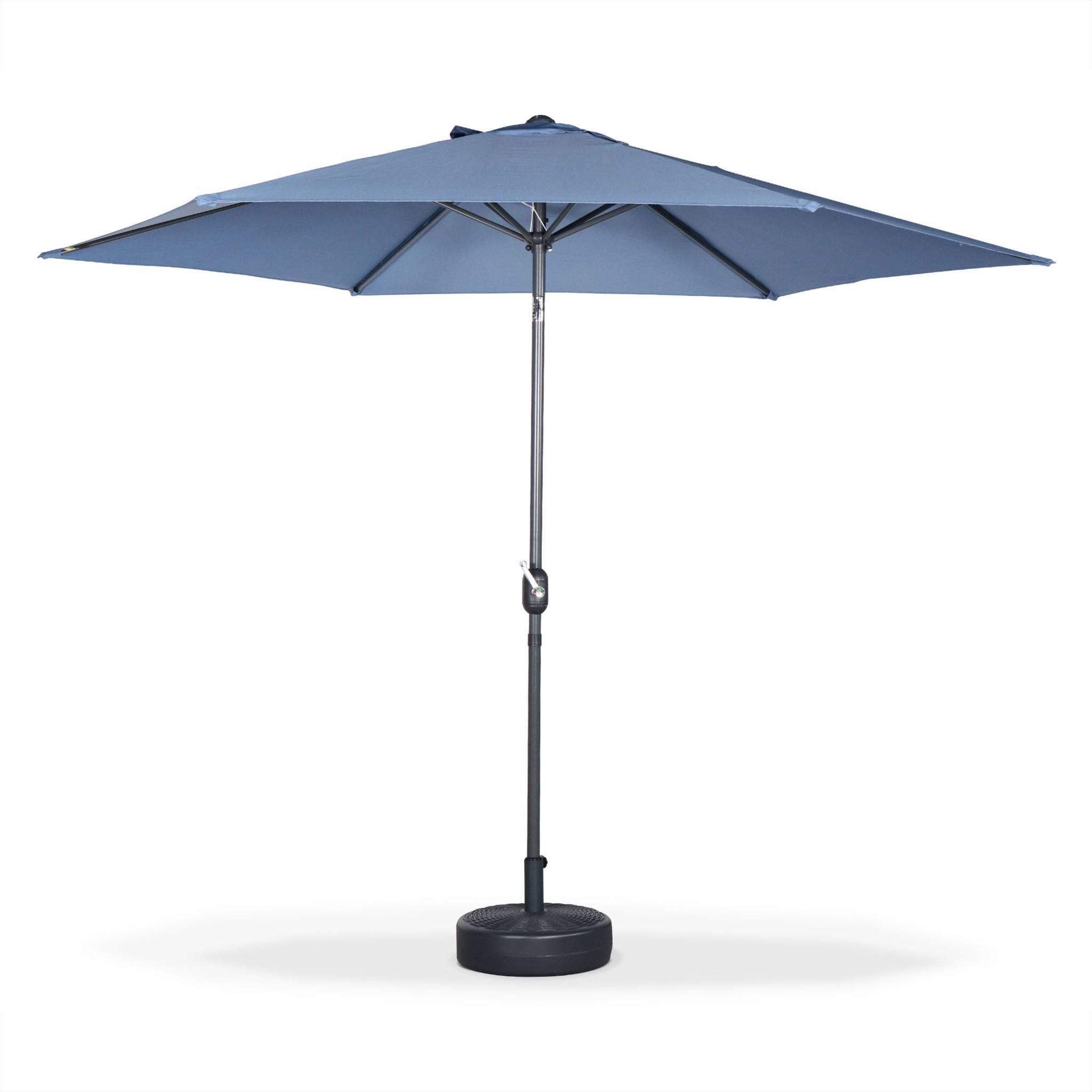 Parasol droit rond en aluminium bleu grisé D3m