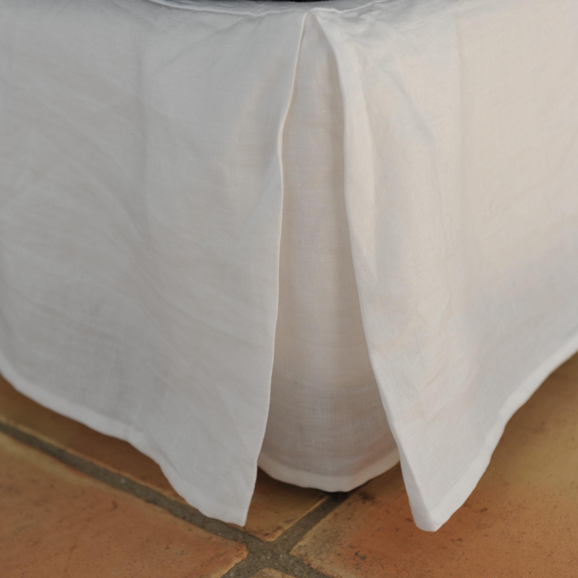 Cache sommier lin lavé blanc 90X200X27 CM (photo)