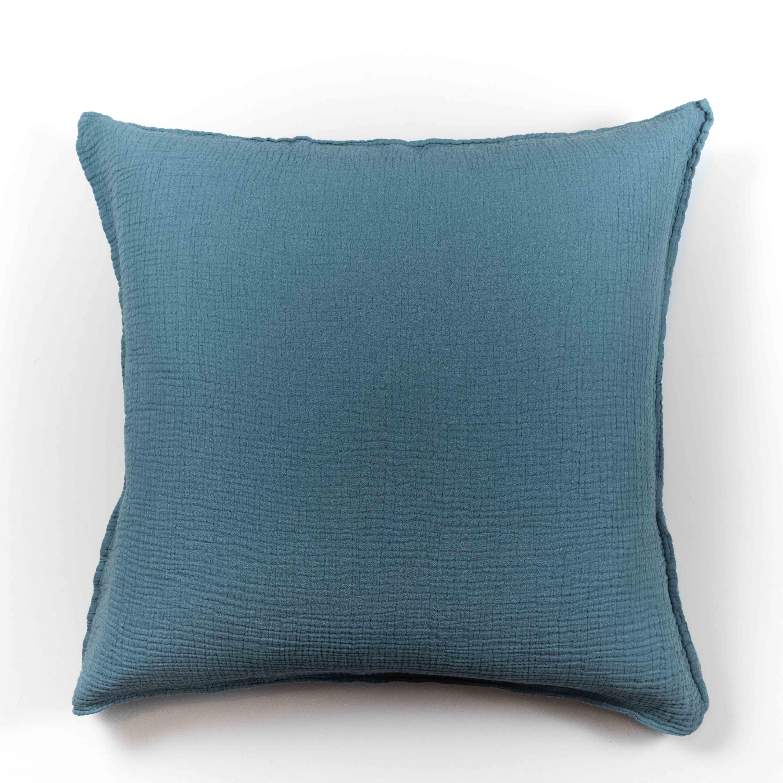 Taie d'oreiller en gaze de coton bleu fumé 65X65 CM