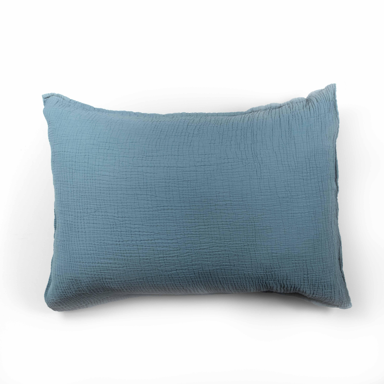Taie d'oreiller en gaze de coton bleu fumé 50X70 CM