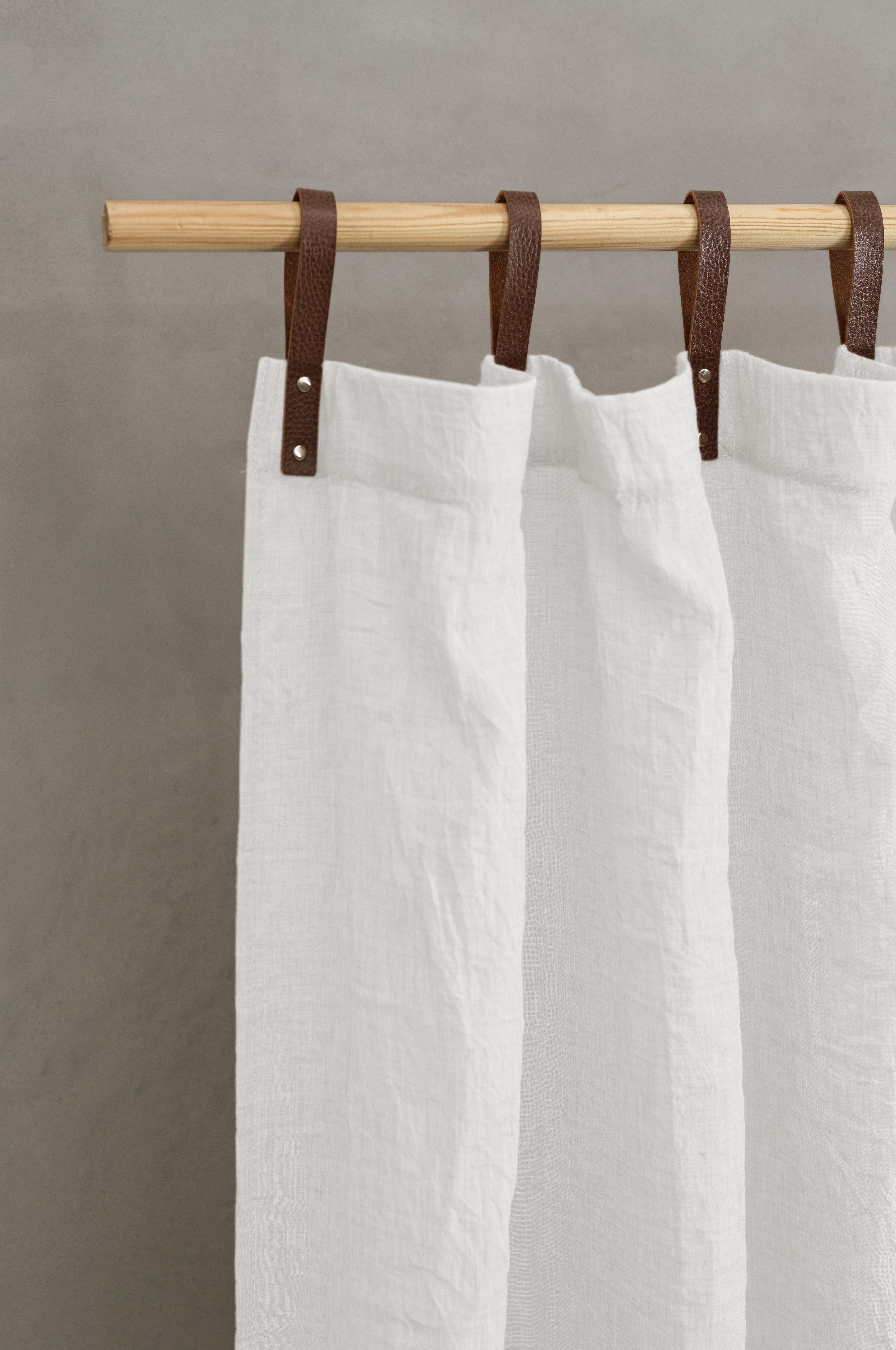 Panneau voilage finition pattes aspect cuir  blanc  245 x 135