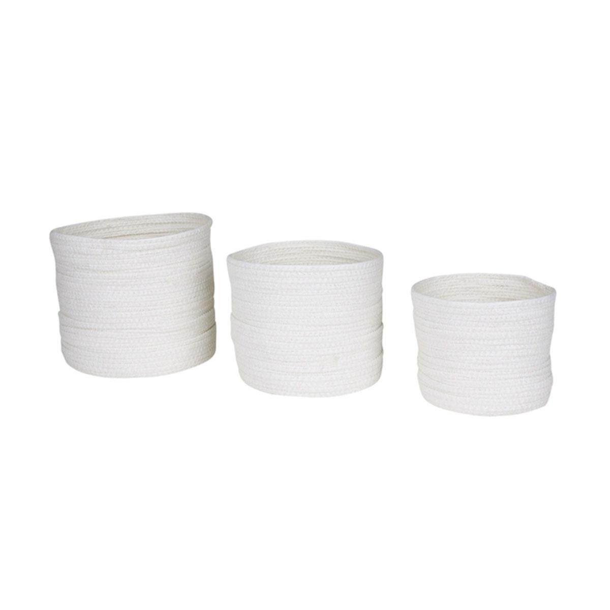 Set de 3 paniers ronds blanc