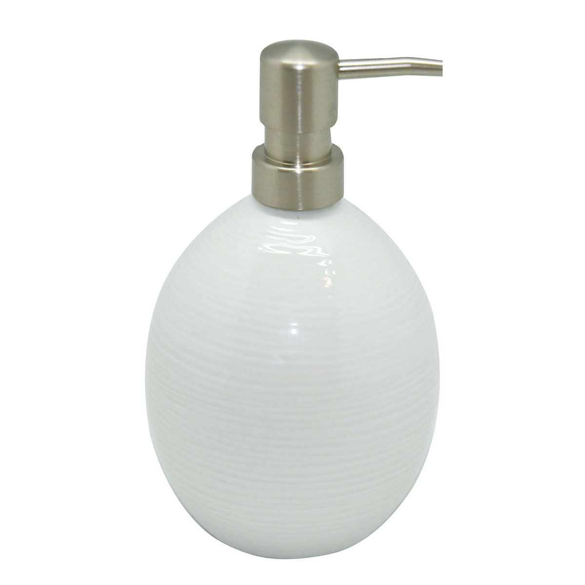Distributeur de savon en porcelaine rayé blanc