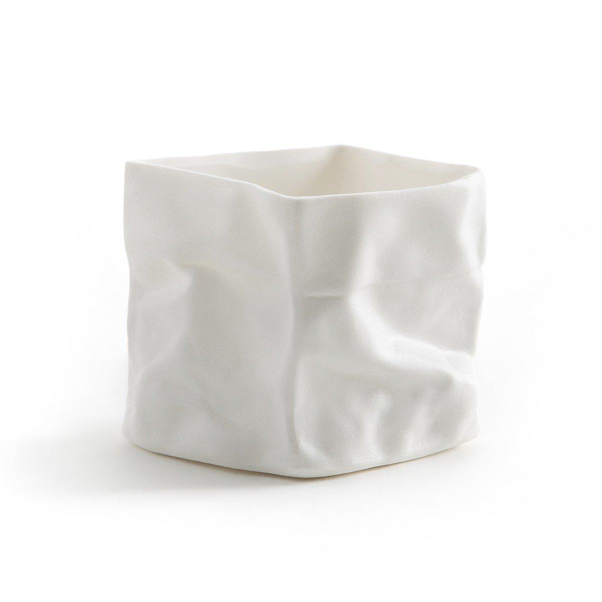 Petit photophore porcelaine froissée 7x7x7