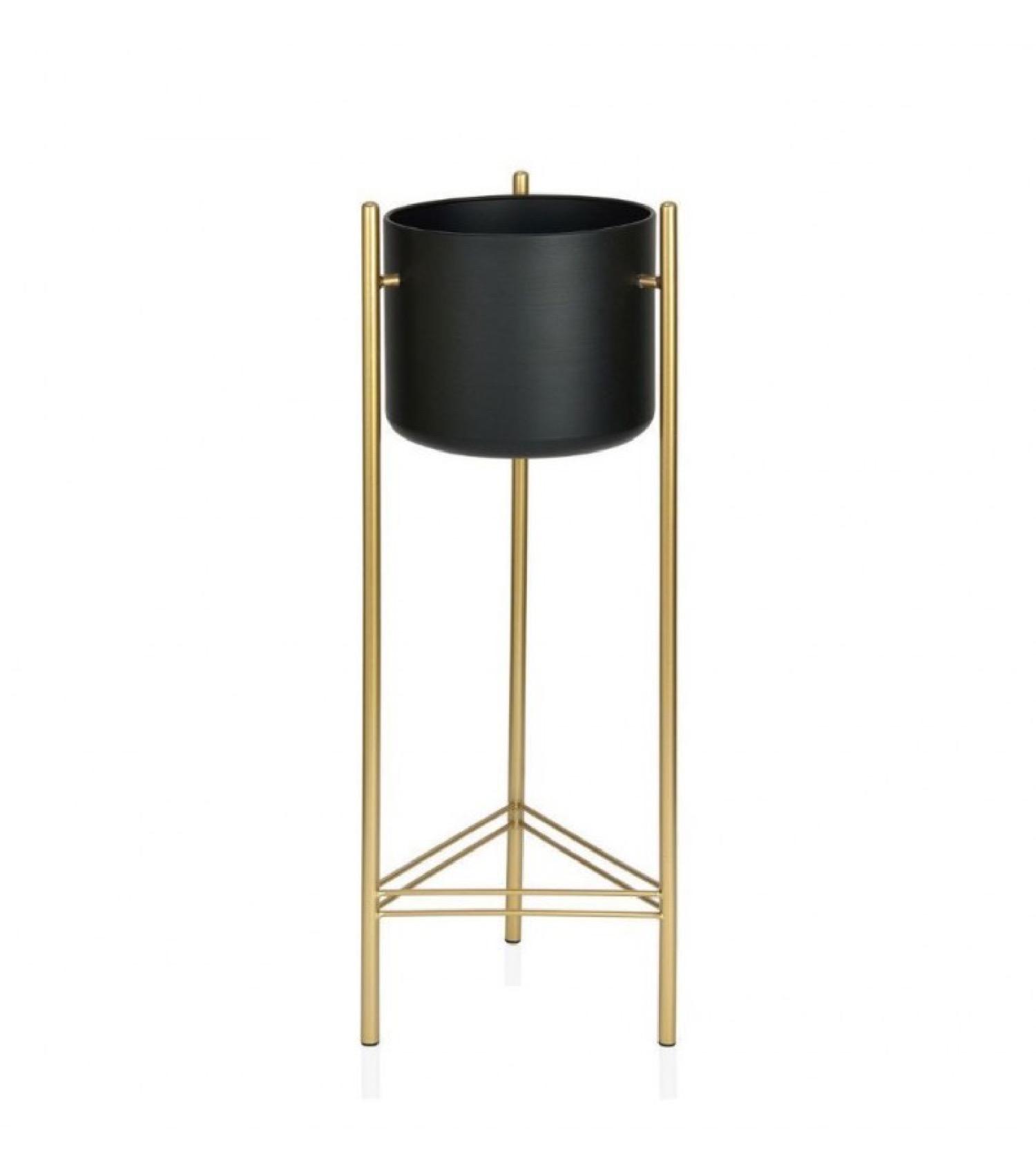 Cache-pot sur pied en métal doré et pot noir H80cm