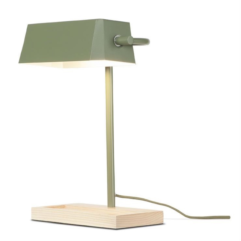 Lampe de bureau bois/métal vert H40cm