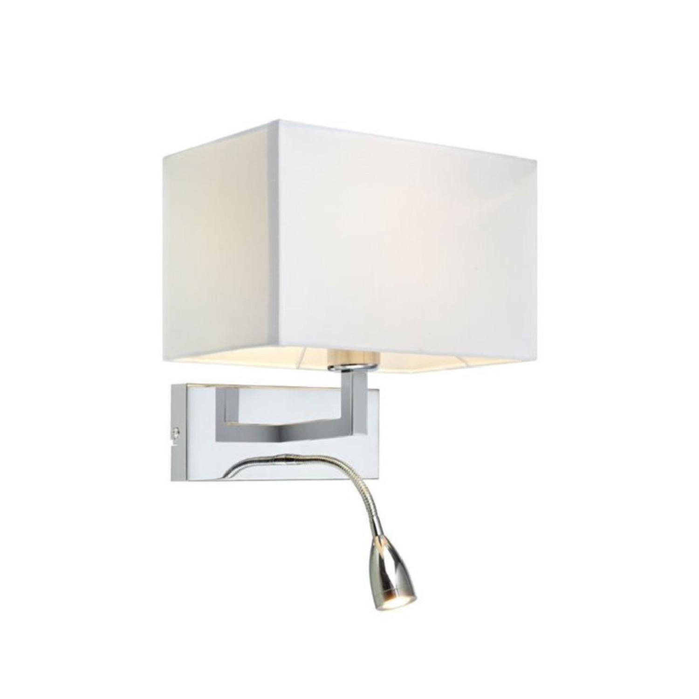 Applique avec liseuse LED flexible métal/tissu H40cm