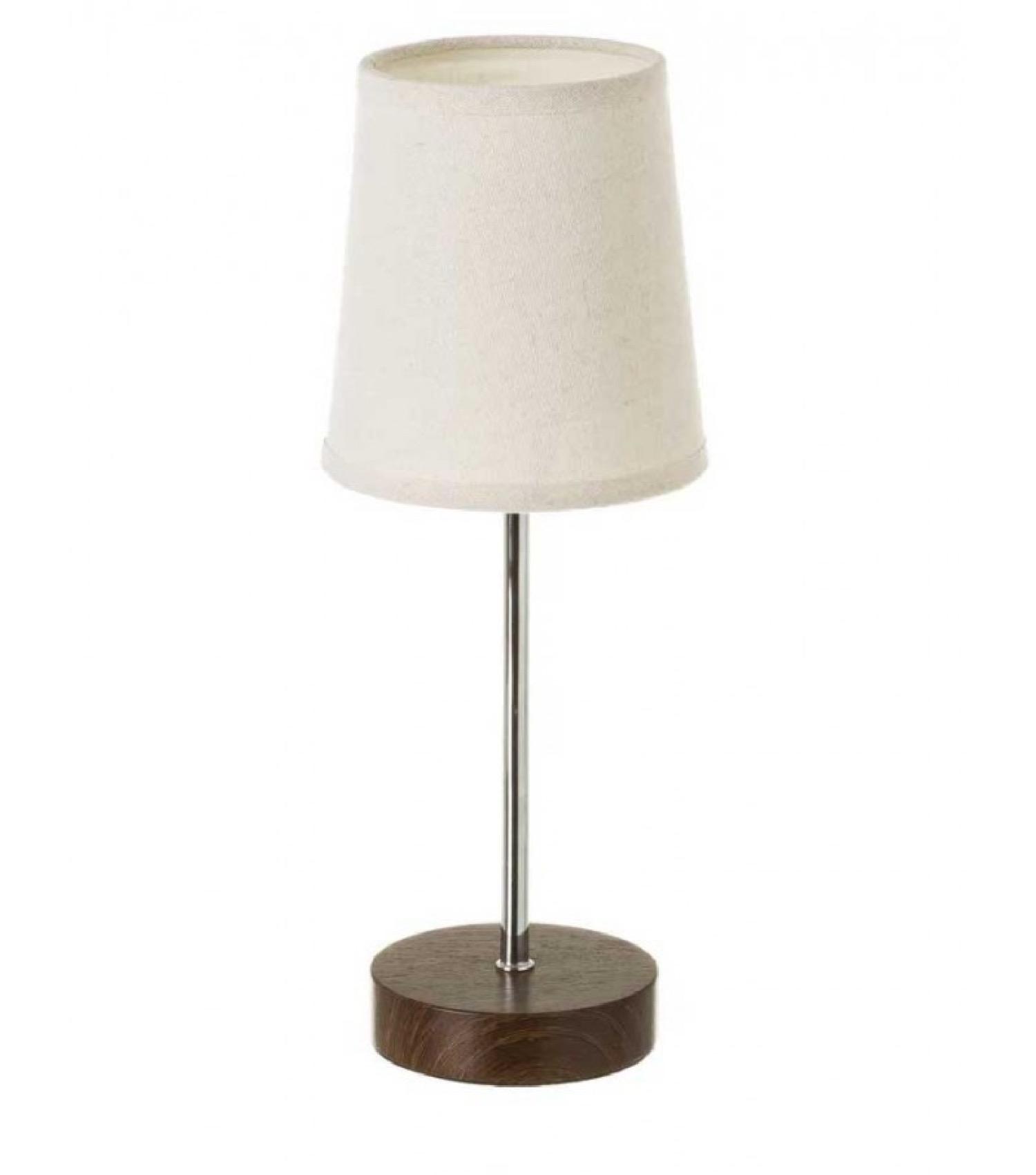 Lampe à poser bois foncé métal chromé et abat-jour beige