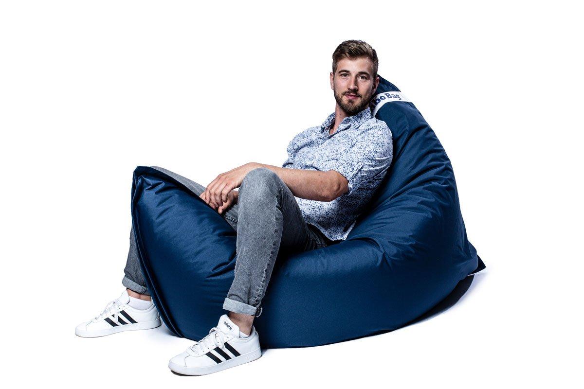 Coussin géant d'extérieur en tissu bleu jeans