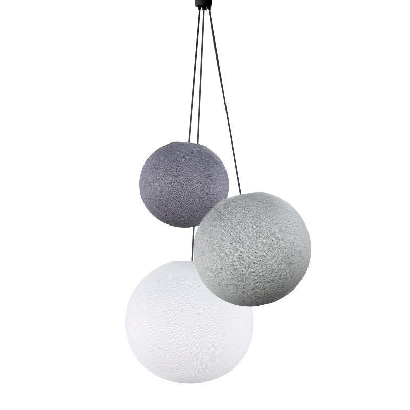 Suspension 3 globes lilas-perle-blanc