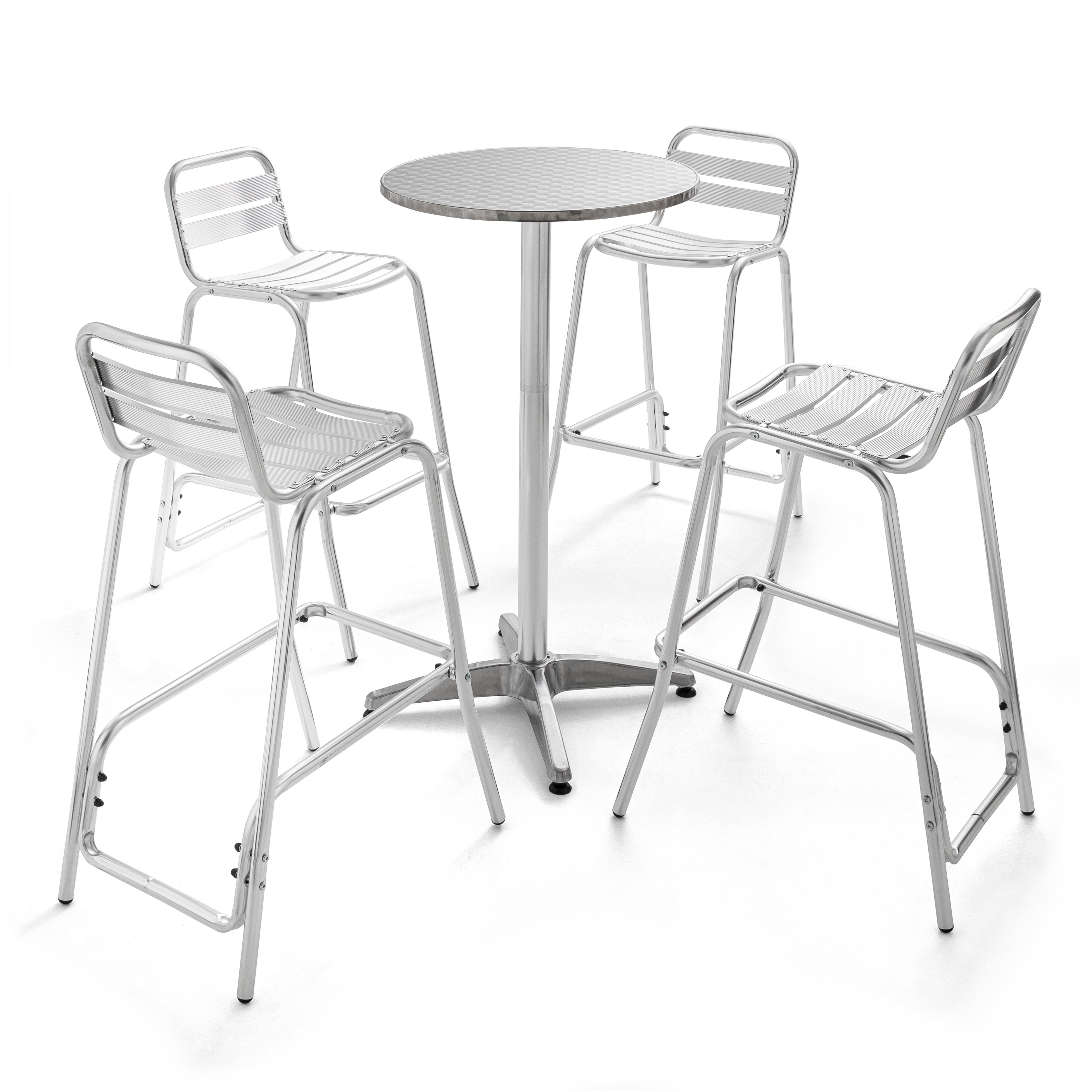 Table de jardin haute en aluminium et 4 tabourets