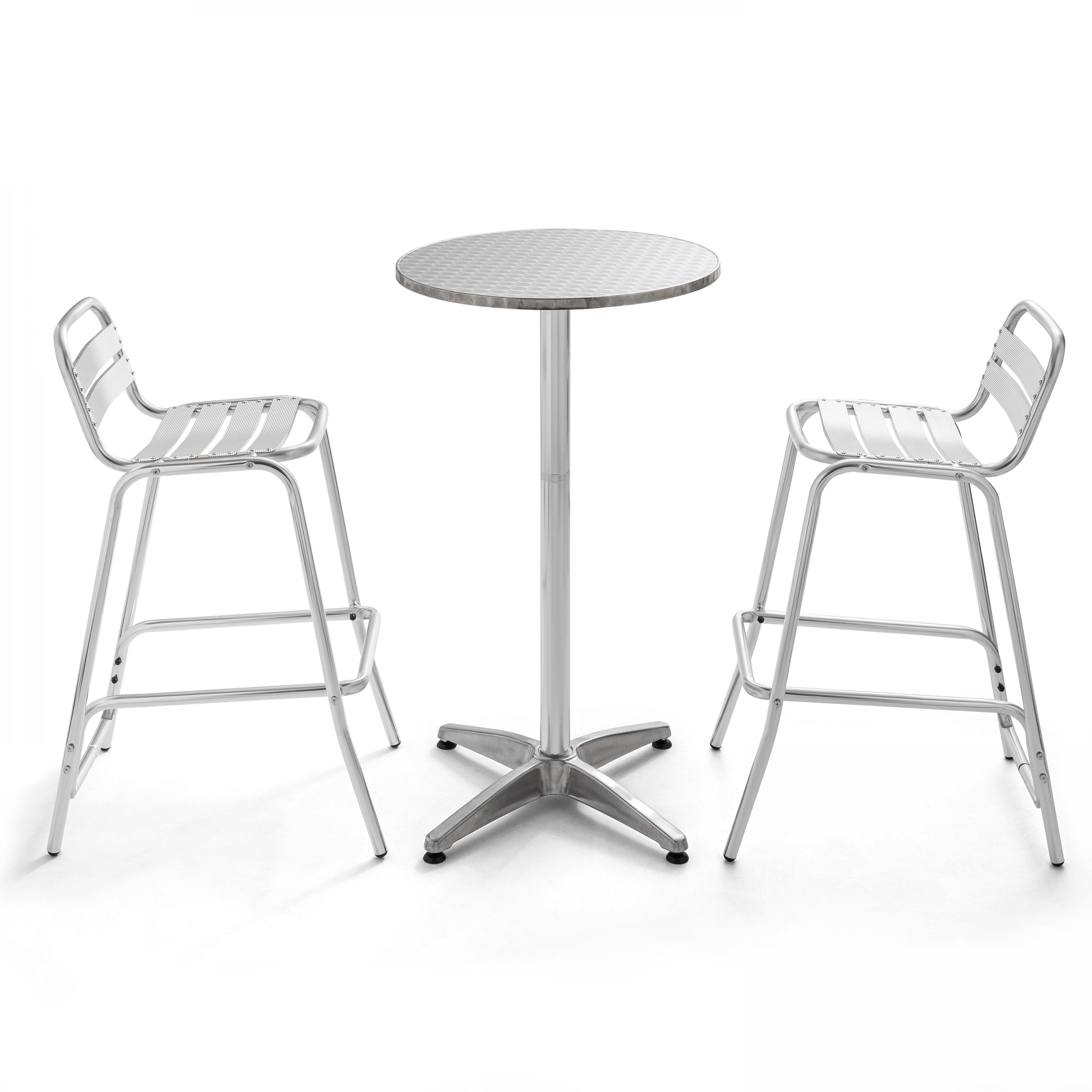 Table de bar en aluminium et 2 tabourets