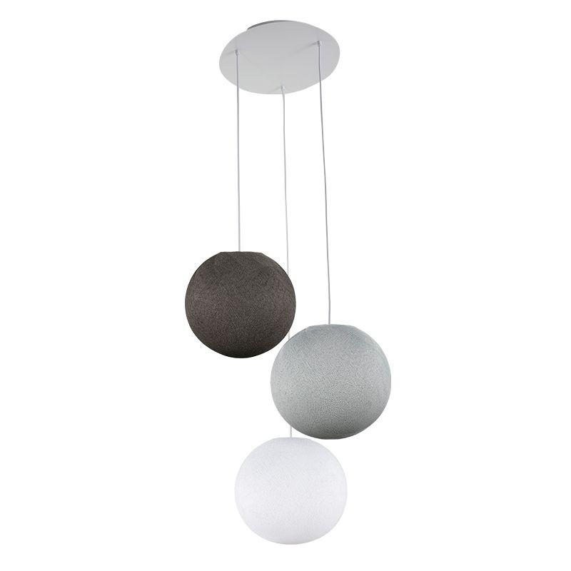 Plafonnier 3 globes S blanc-gris perle-graphite