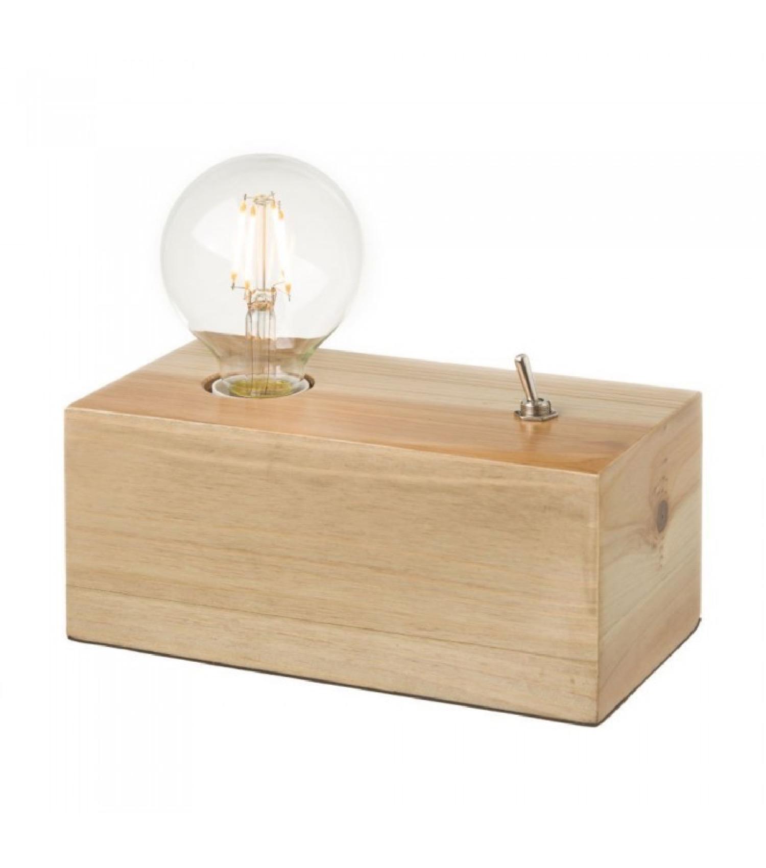 Lampe à poser en bois avec interrupteur