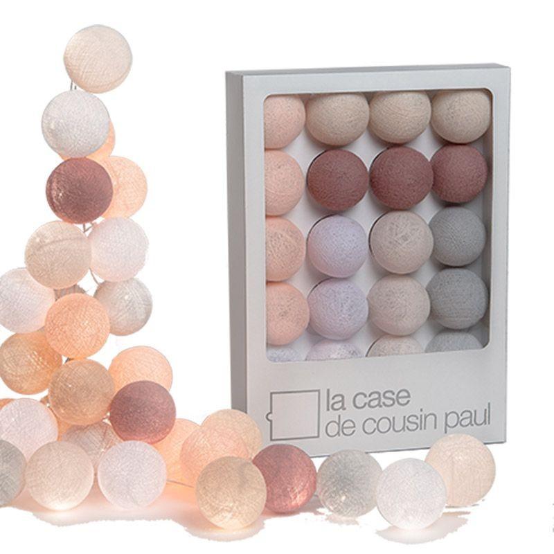 Guirlande lumineuse 20 boules tissées rose et gris