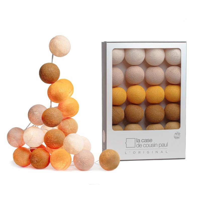 Guirlande lumineuse 20 boules orange et marron