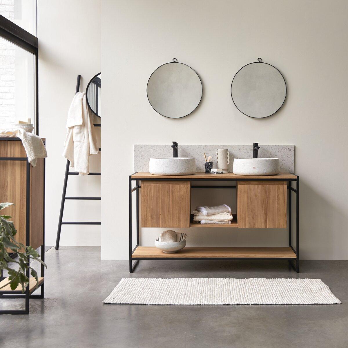 Meuble Salle de bain en teck massif et métal 140