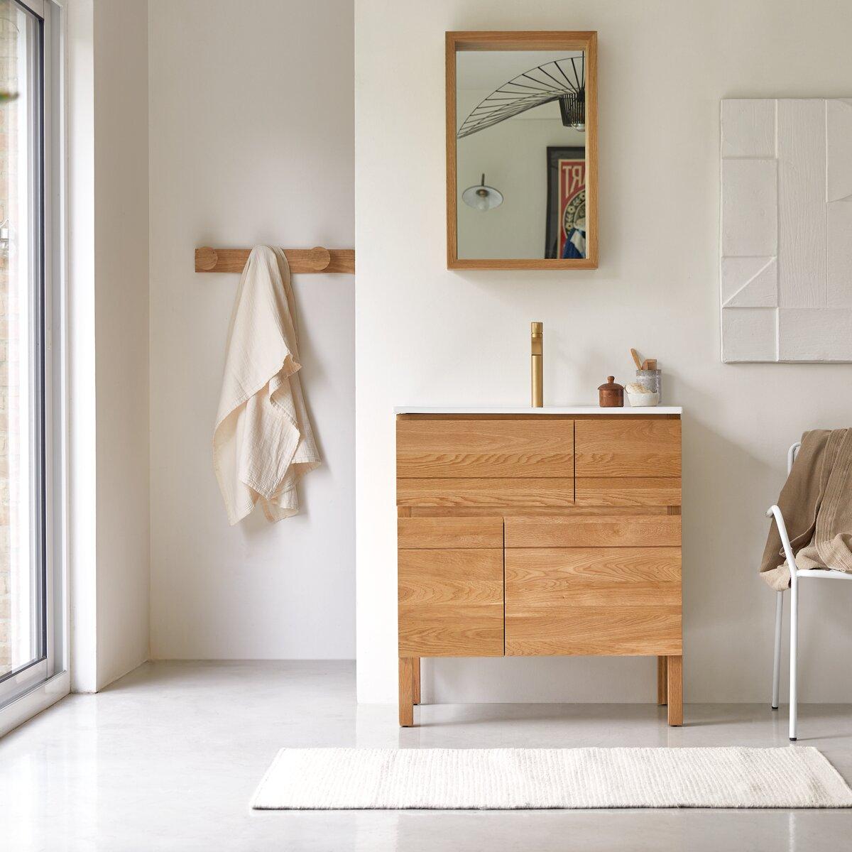 Meuble Salle de bain en chêne massif et céramique 80
