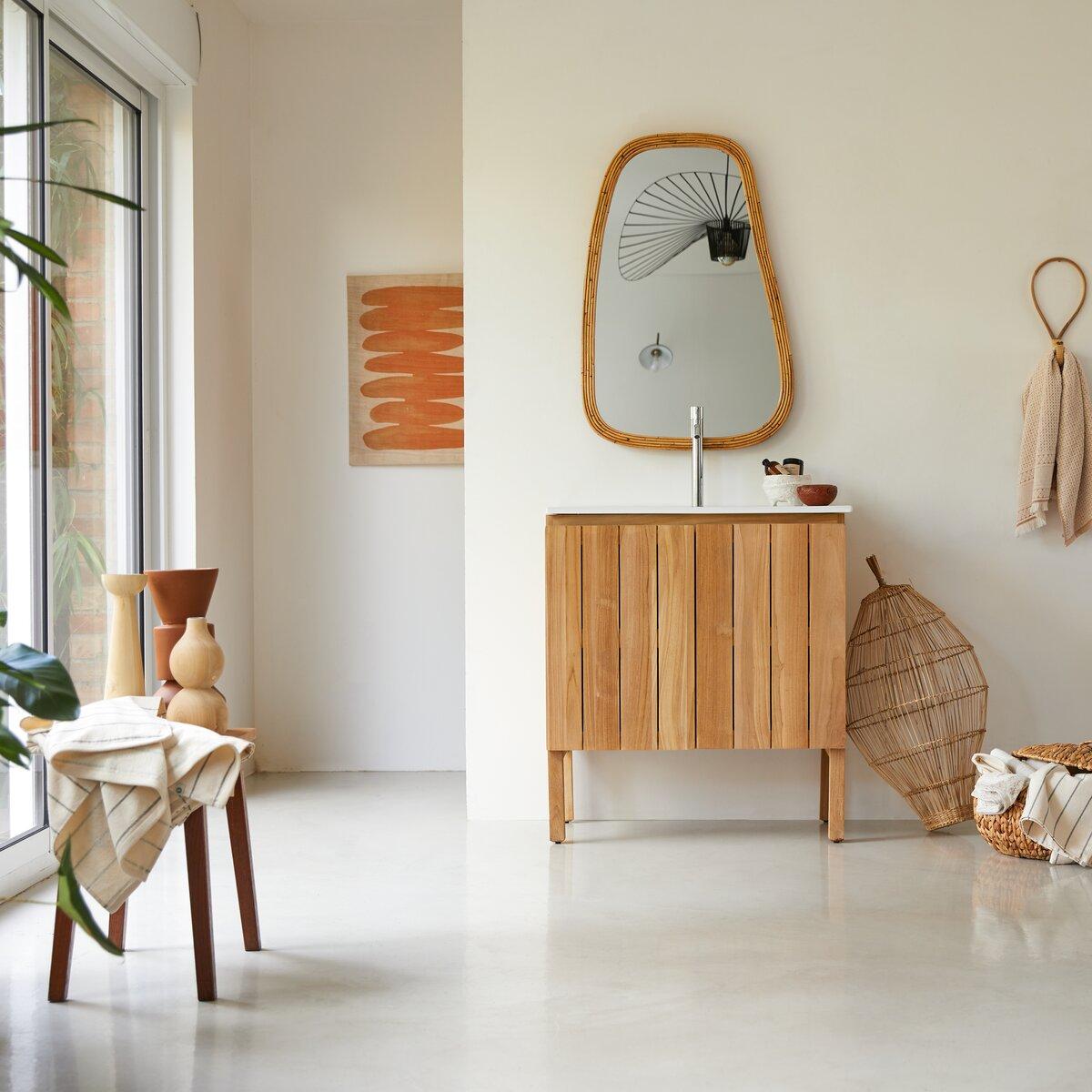 Meuble Salle de bain en teck massif et céramique 80