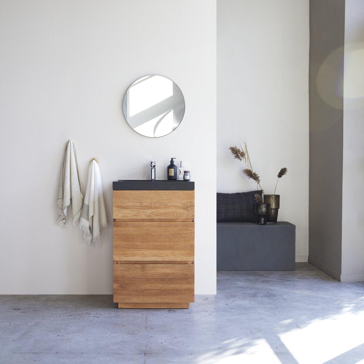Meuble Salle de bain en chêne massif et pierre de lave 60