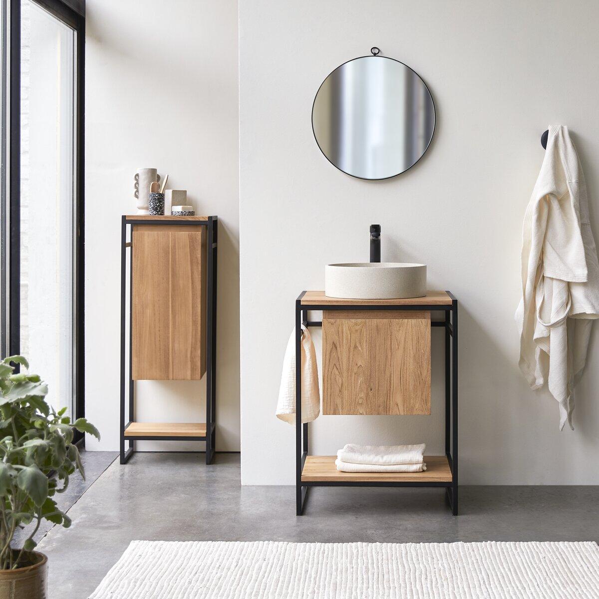 Meuble Salle de bain en teck massif et métal 60
