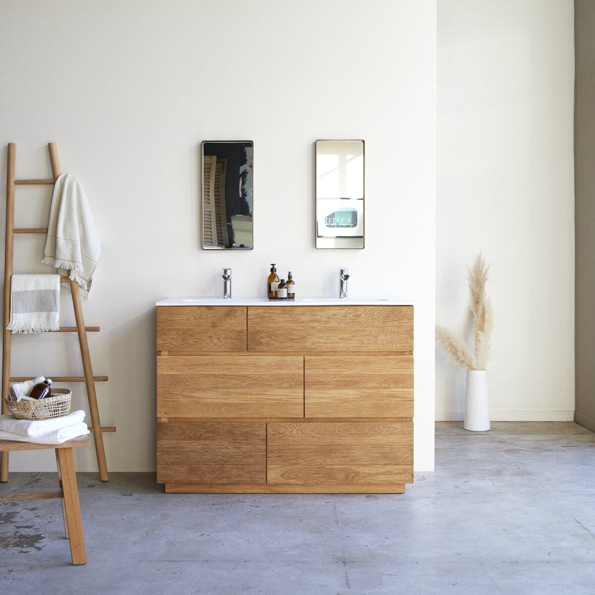 Meuble Salle de bain en chêne massif et céramique 120