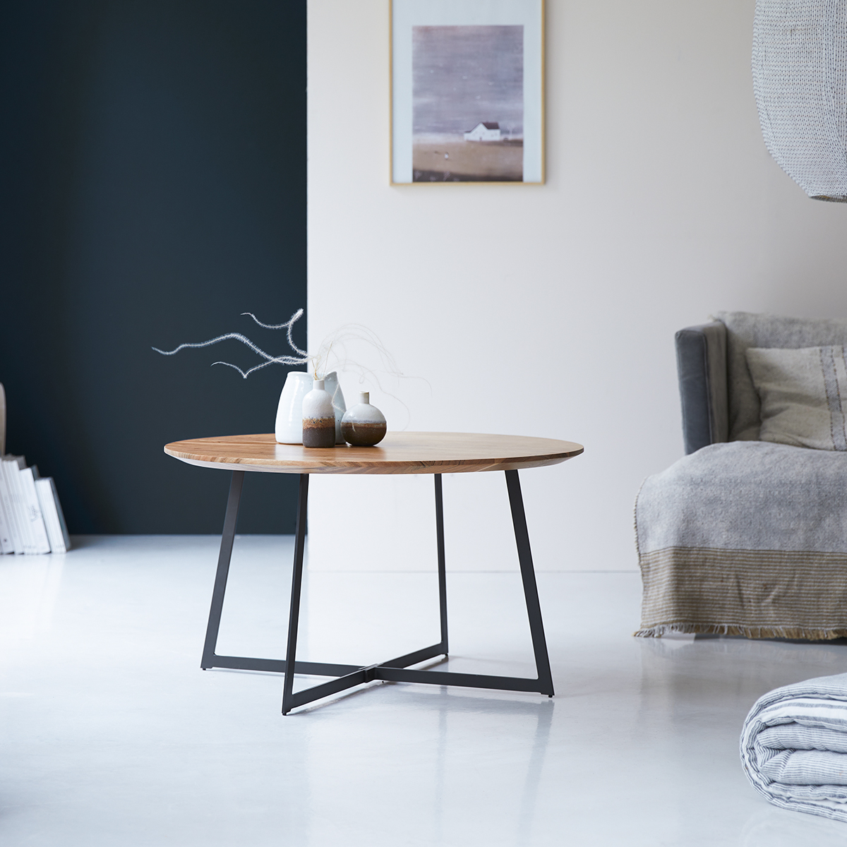 Table basse en bois d'acacia massif 80
