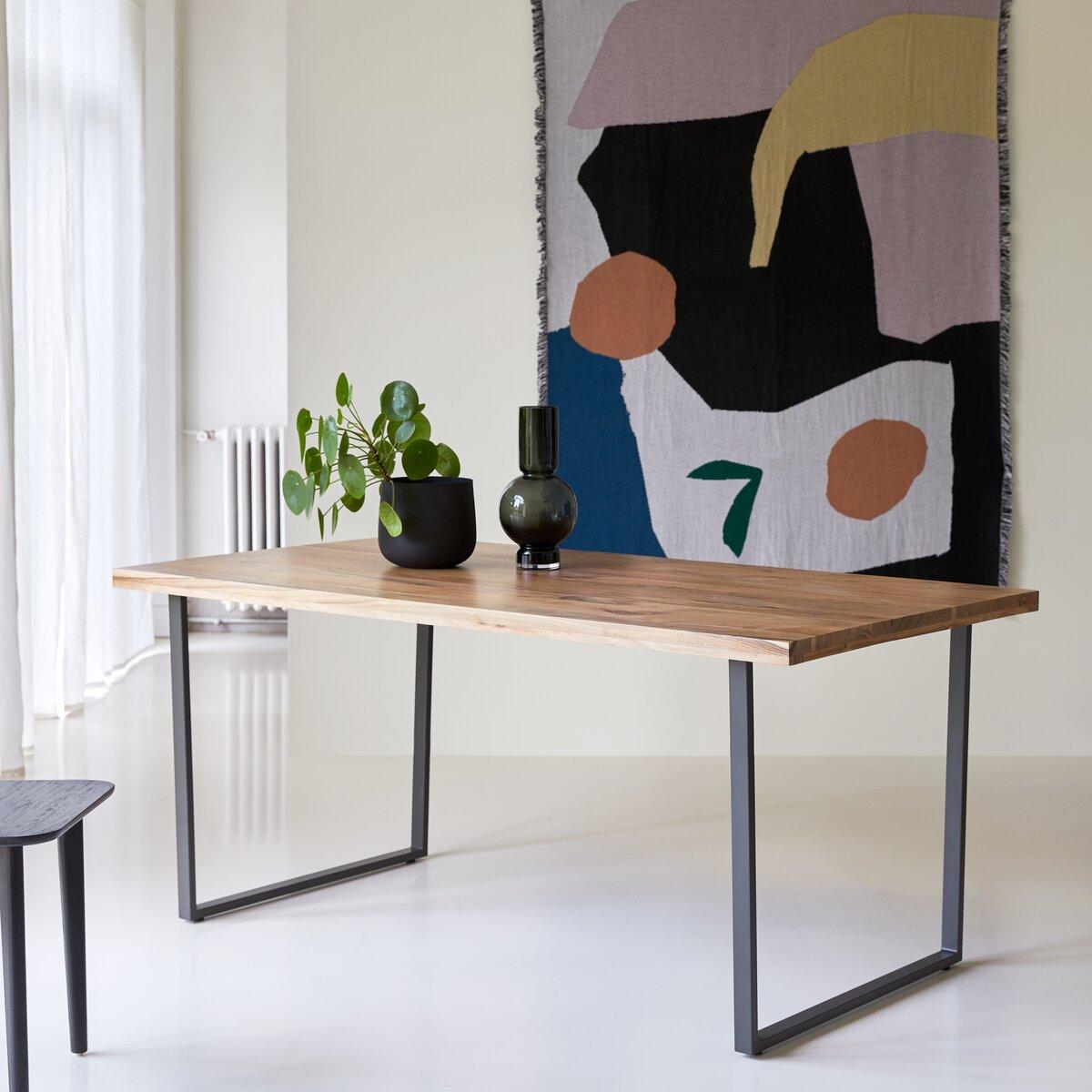 Table en métal et bois d'acacia massif 175x90