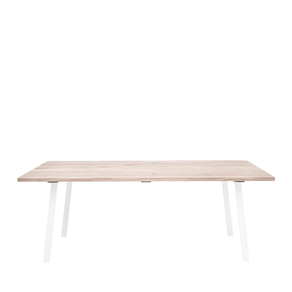 Table à manger en métal et chêne 200x95cm blanc