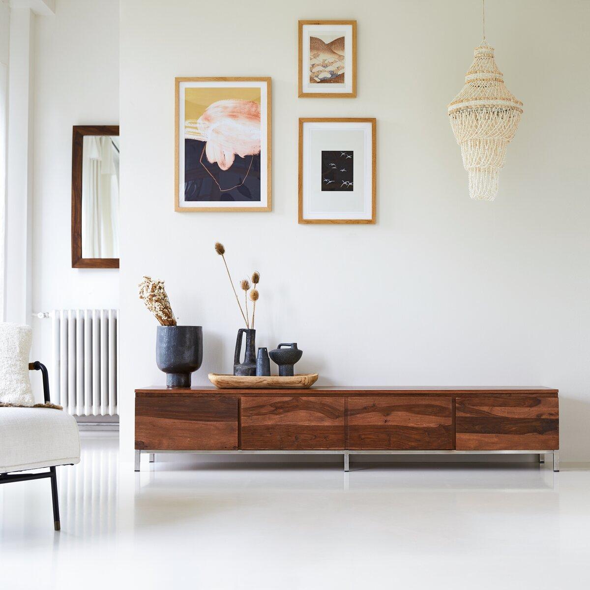 Meuble TV en bois de palissandre massif 205 cm