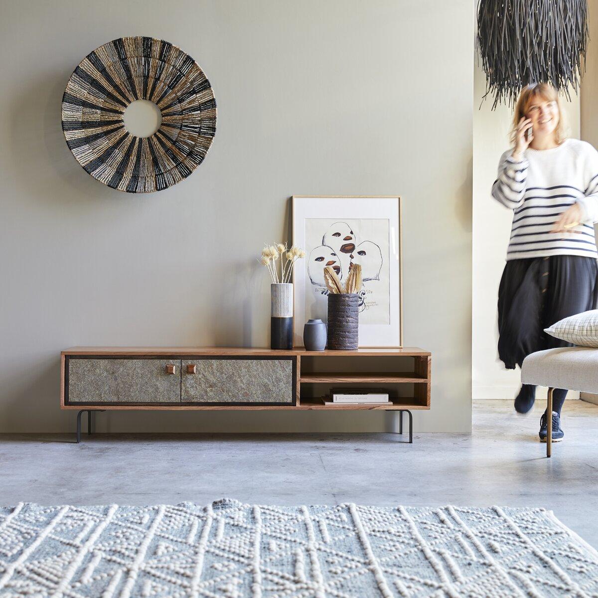 Meuble TV en bois d'acacia 160 cm