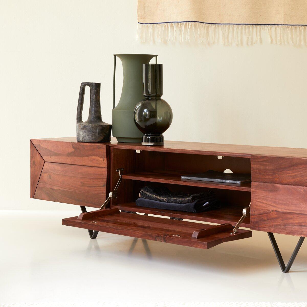 Meuble TV en bois de palissandre massif 175 cm