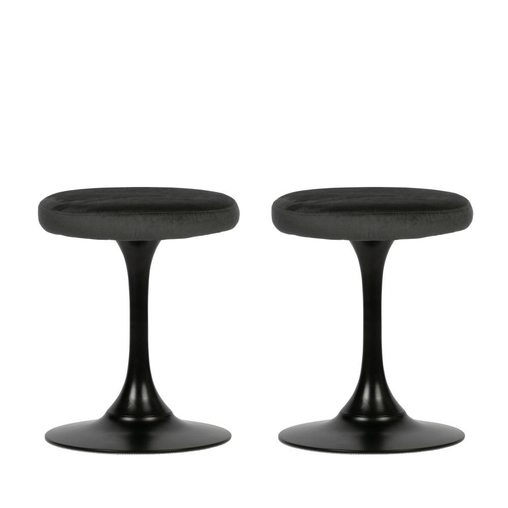 2 tabourets vintage en velours noir