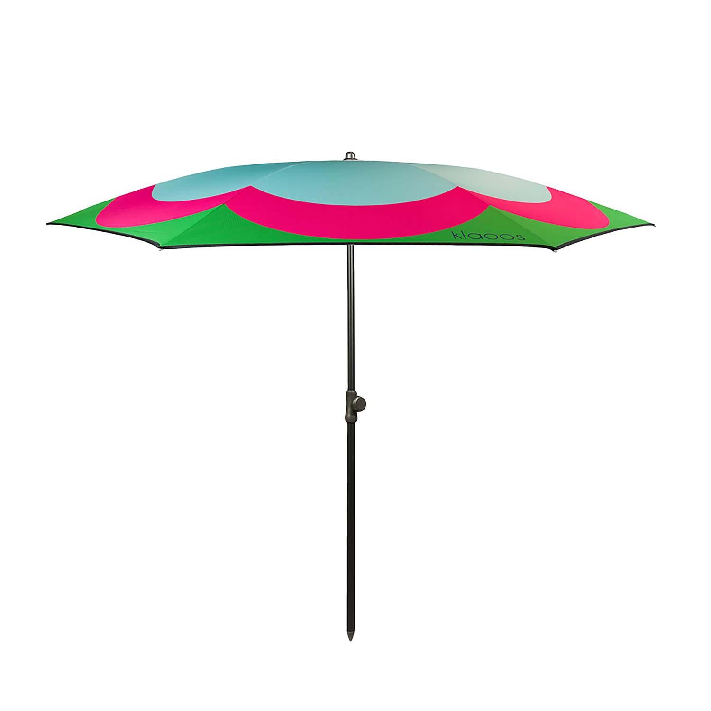 Parasol de plage en textile recyclé rose azur